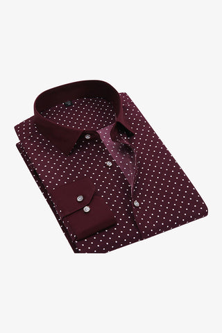 Polka Dots Burgundy Shirt