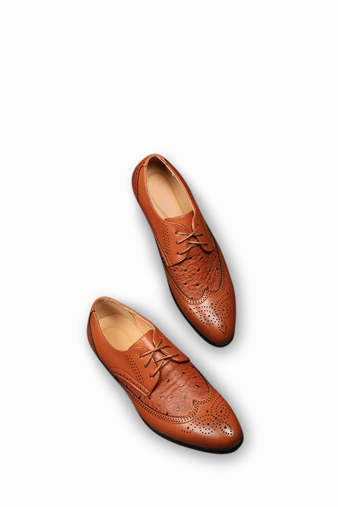 Brogue Casual Classical Shoes In Brown