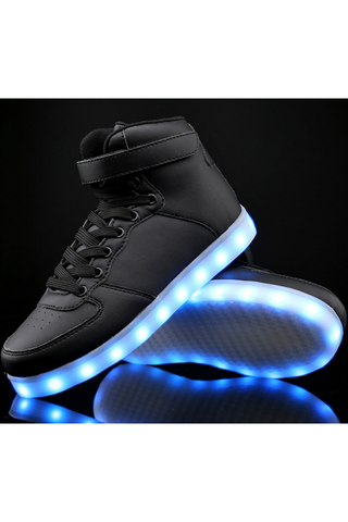 Unisex LED Light Lace Up Luminous Sneaker In Black