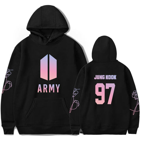 BTS Army Jung Kook Black Bangtan Boys Hooded Sweater Sudadera Felpa