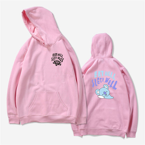 BT21 SLEEP WELL EAT WELL K-POP PINK HOODED SWEATER SWEATSHIRT