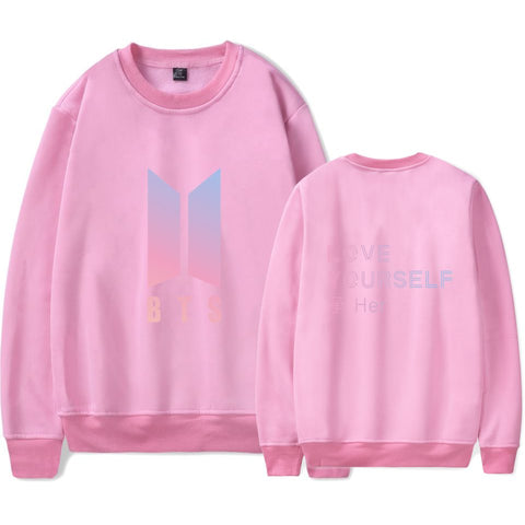 BTS BT21 KPOP DNA Love Yourself Hoodie Crewneck Black K-Pop Sweater Sweatshirt Felpa Sudadera Jupe Camisa Camiseta Tee Tshirt T-shirt