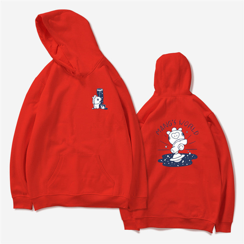 BTS BT21 Mang's World Red K-Pop Hooded Sweater