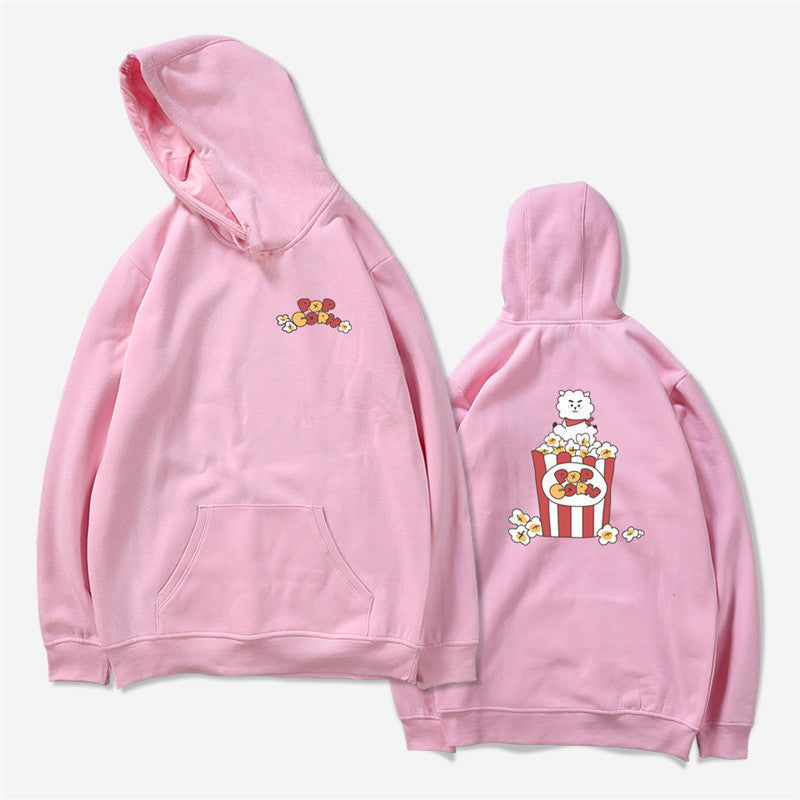 BTS BT21 Pop Corn Pink K-Pop Hooded Sweater