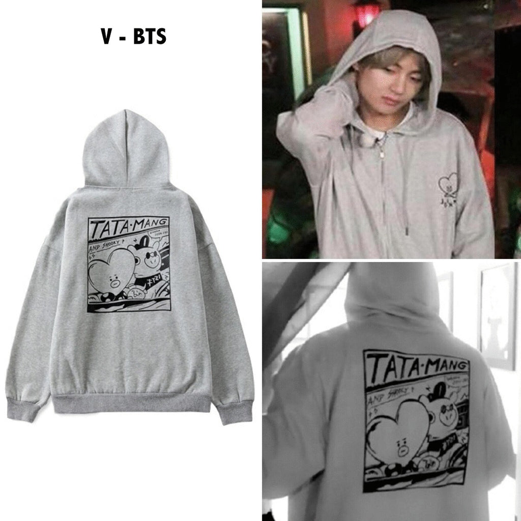 BT21 Tata Mang V Jimin Grey Hoodie Jacket Hooded Sweatshirt Sweater