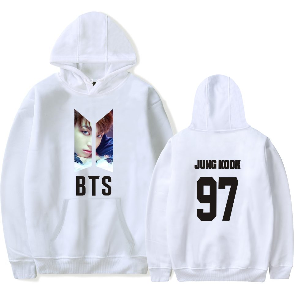 BTS Bangtan Boys White Jung Kook Hooded Sweater Sweatshirt Hoodie