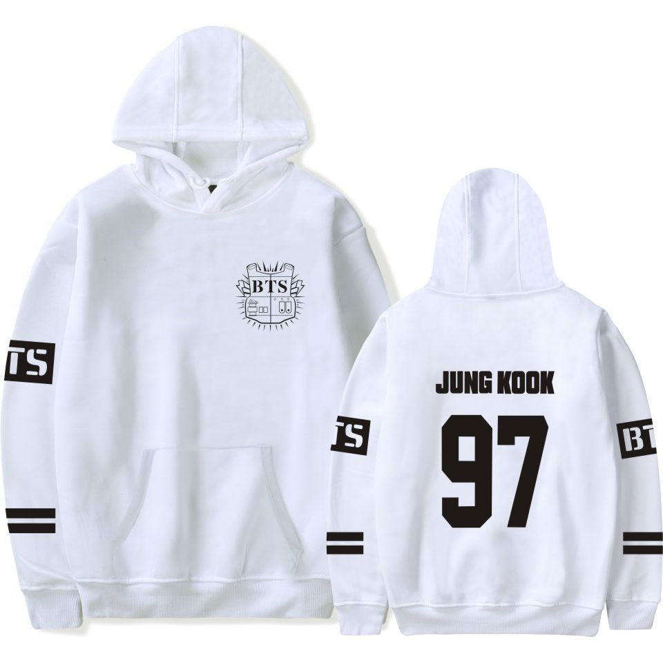 BTS Jung Kook White K-Pop Hoodie Hooded Sweater