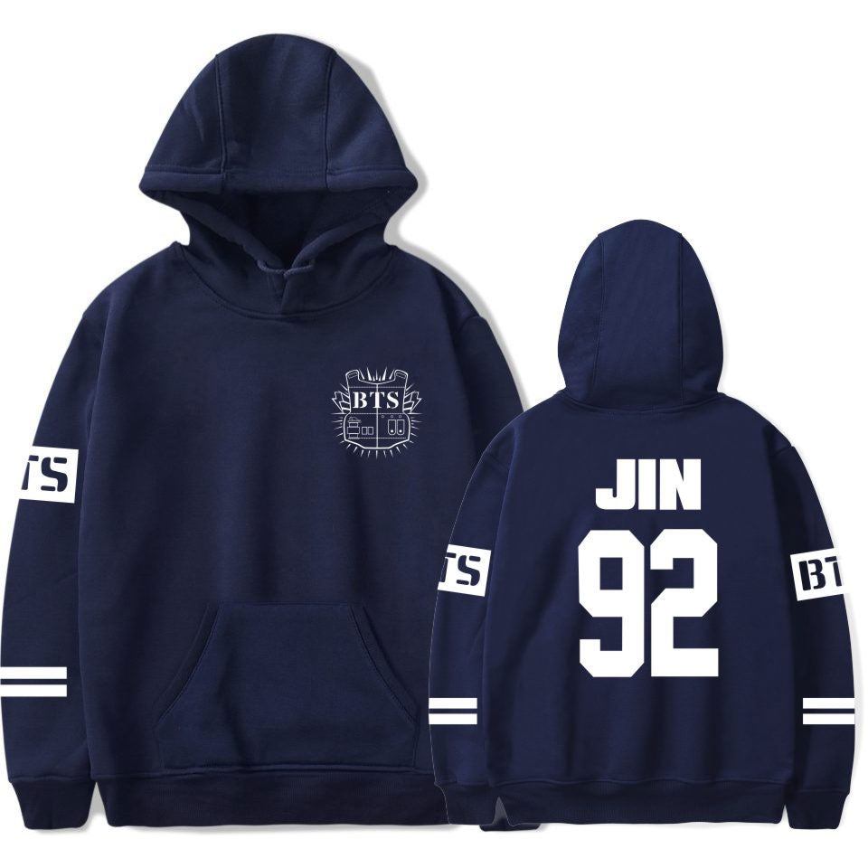 BTS K-Pop Jin Navy blue Hoodie Hooded Sweater Sweatshirt Felpa Sudadera Jupe