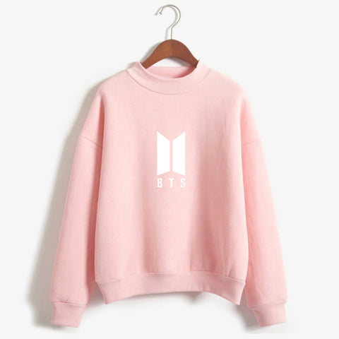 BTS LOGO CUTE PINK MOCK NECK SWEATSHIRT