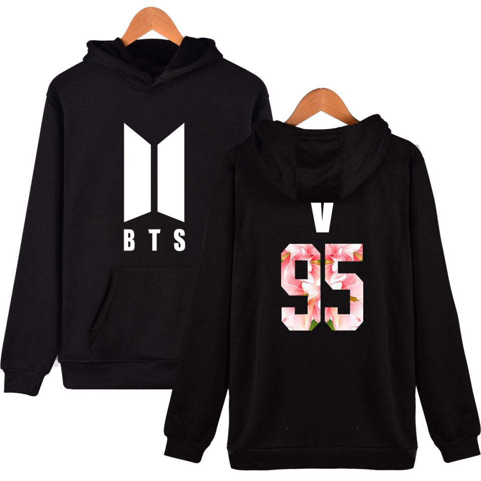 BTS V Floral Black Hooded Sweater Sweatshirt