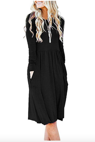 Black Lounge Casual Midi Dress