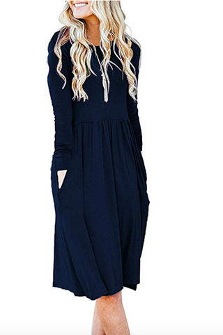 Blue Empire Waist Midi Dress