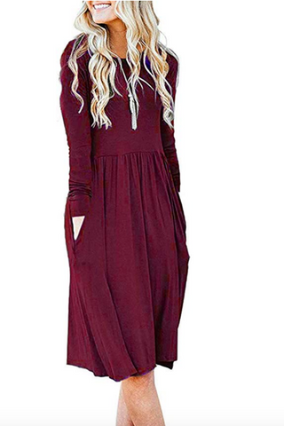 Burgundy Empire Waist Midi Dress