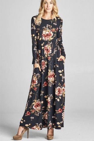 Floral Black Casual Maxi Dress
