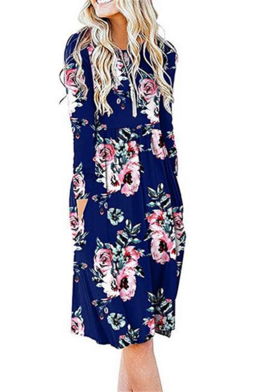 Floral Blue Empire Waist Dress