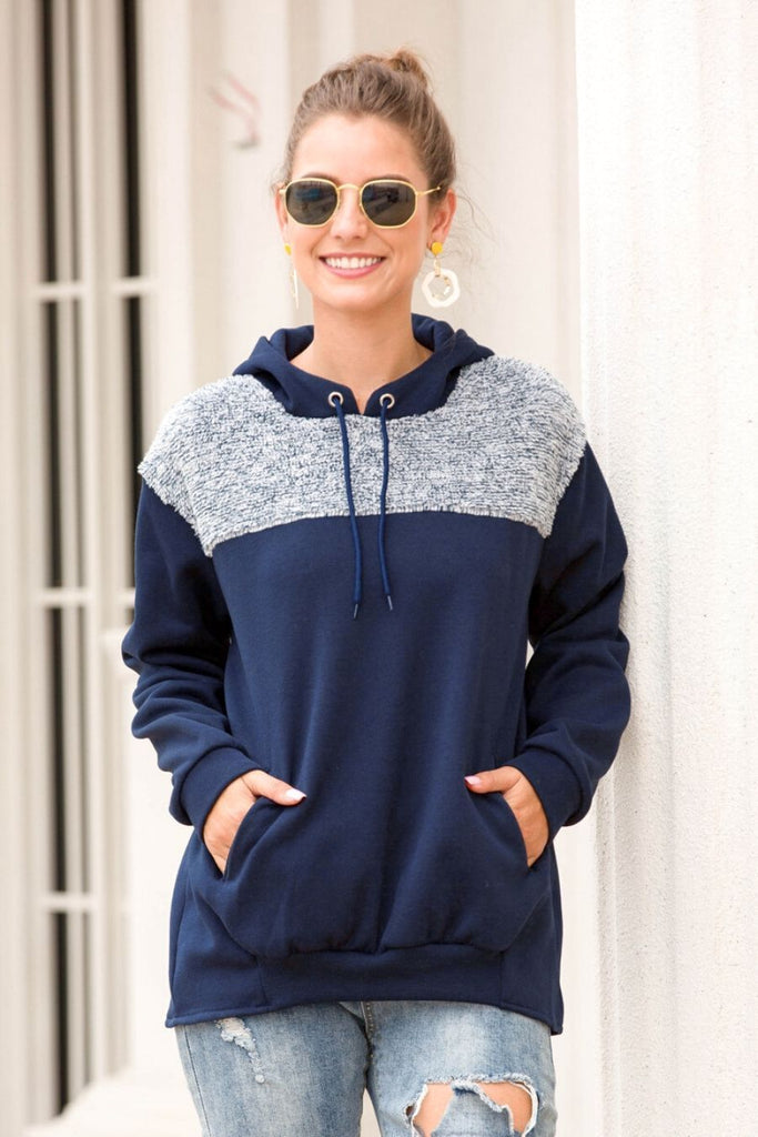 Drawstring Sweater Hoodie In Blue - Casual Sweater