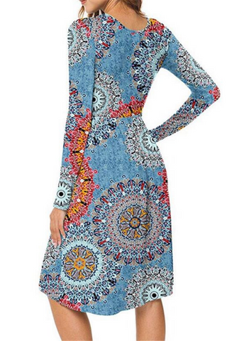 Boho Printed Comfy Midi Dress