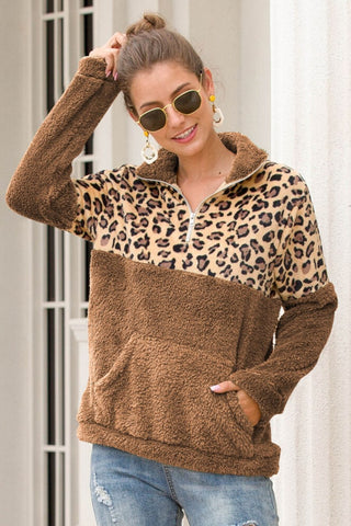 BROWN HALF ZIP LEOPARD PRINT WAIST SWEATER PULLOVER