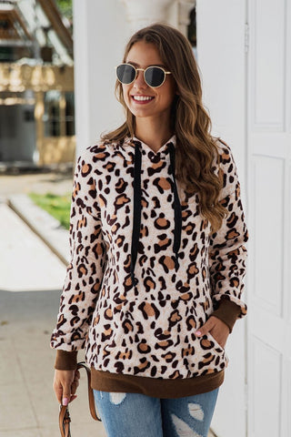 Leopard Print Brown Hooded Sherpa Casual Sweater Sweatshirt