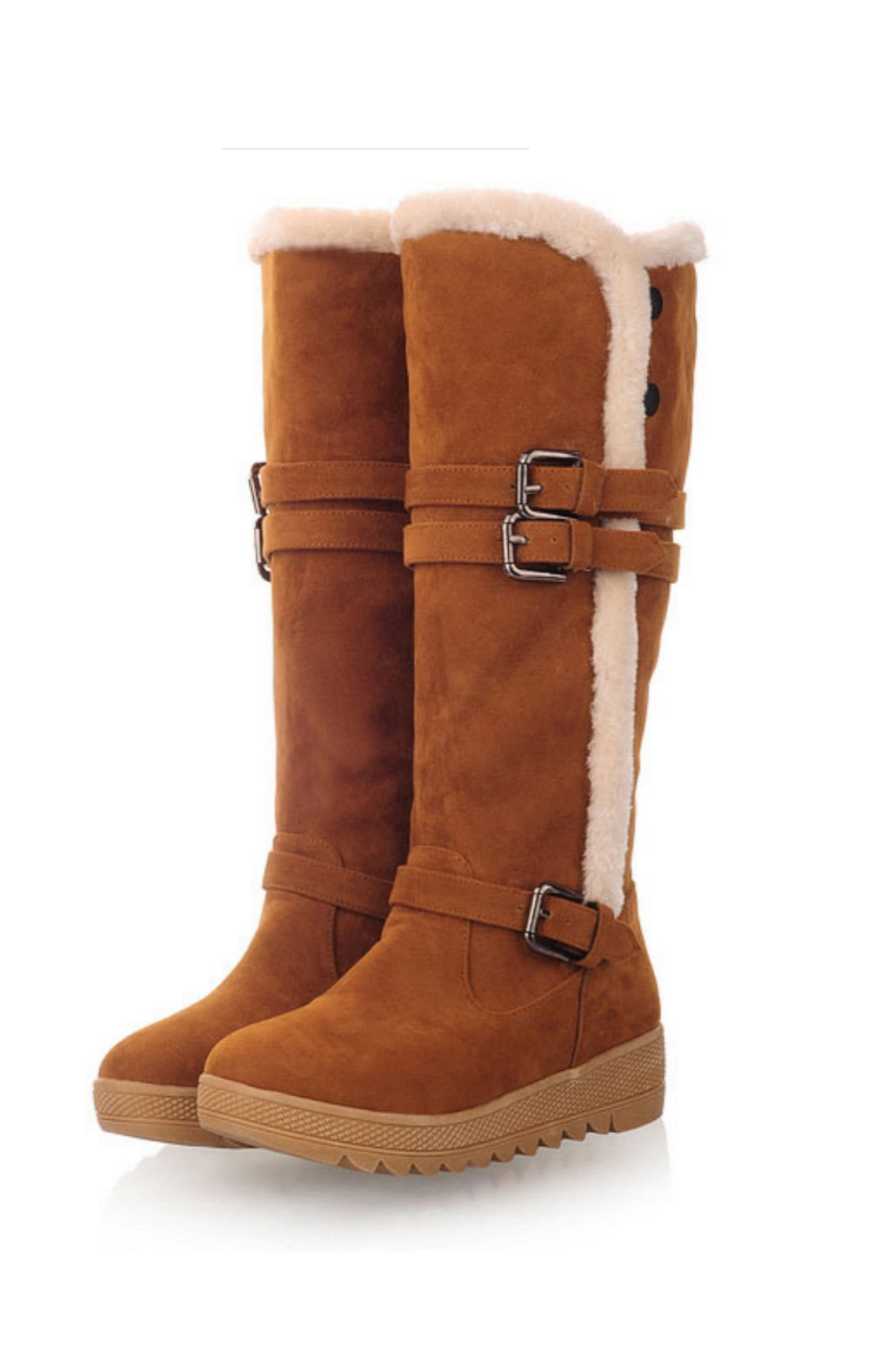 Buckle High Snow Boots In Brown