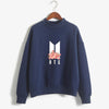 BTS K-POP CUTE FLORAL NAVY BLUE SWEATSHIRT