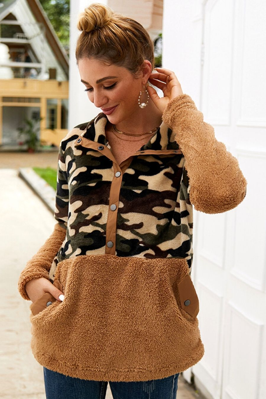 Brown Button Camo Oversized Sherpa Sweater