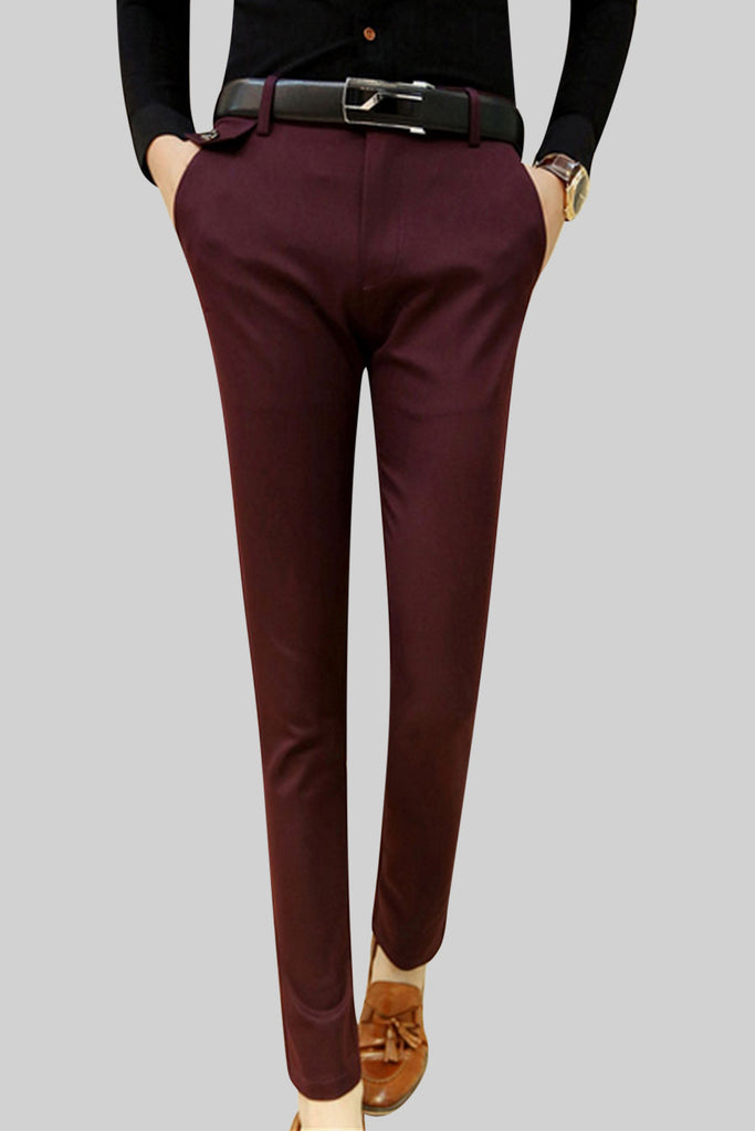 Slim Fit Pants In Burgundy