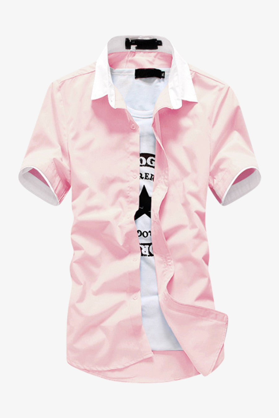 Pink Elegant Short-sleeved Shirt
