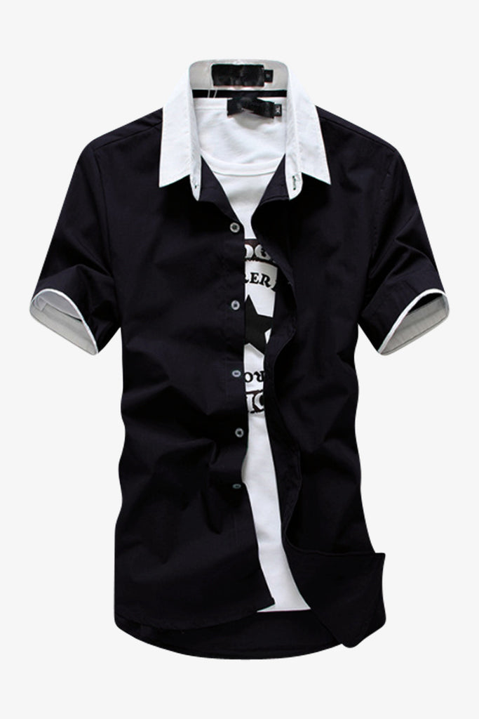 Black Elegant Short-sleeved Shirt