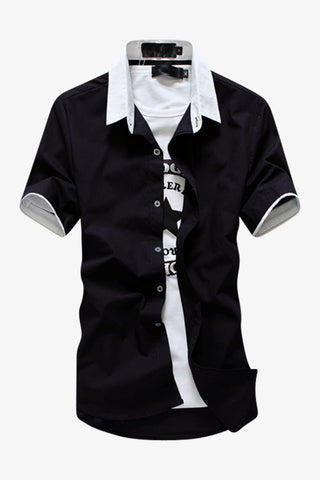 Elegant Short-sleeved Dress Shirt In Black