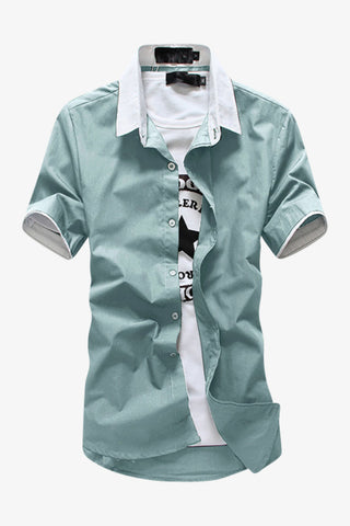 Elegant Short-sleeved Dress Shirt In Mint