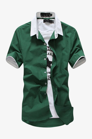 Elegant Short-sleeved Dress Shirt In Green