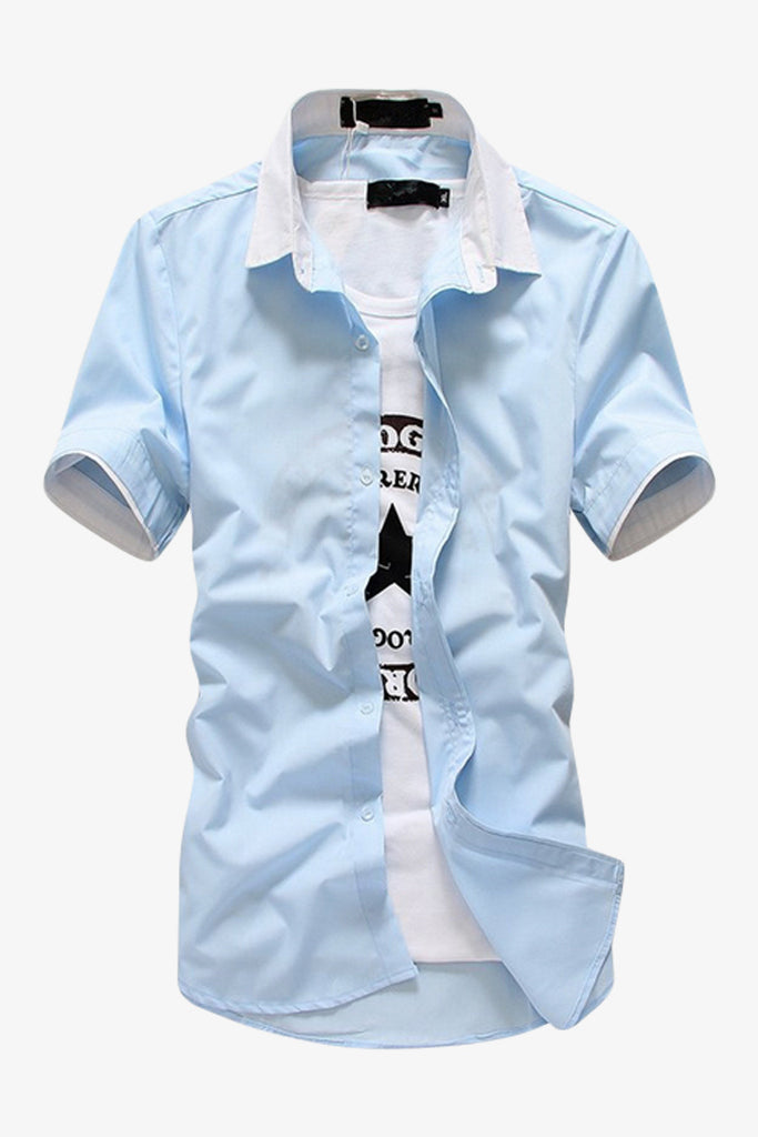 Sky Blue Elegant Short-sleeved Shirt