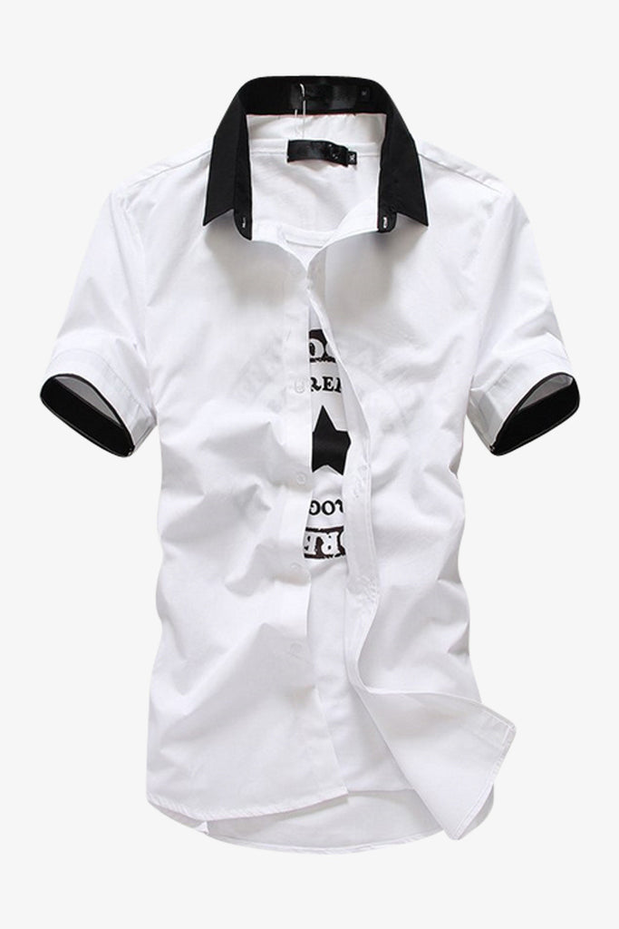 Elegant Short-sleeved White Shirt