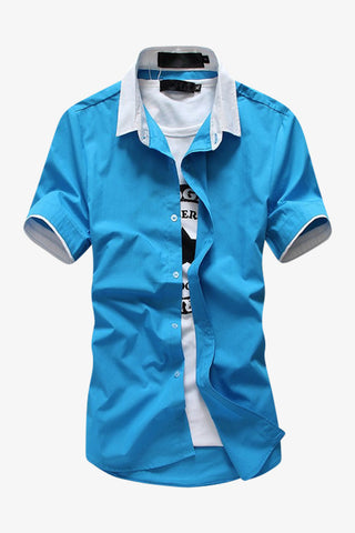 Elegant Short-sleeved Dress Shirt In Blue