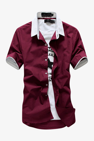 Elegant Short-sleeved Dress Shirt In Burgundy