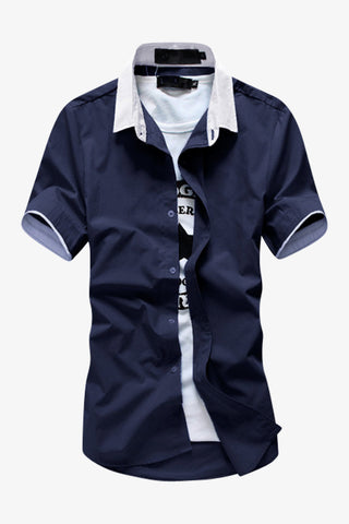 Navy Elegant Short-sleeved Shirt