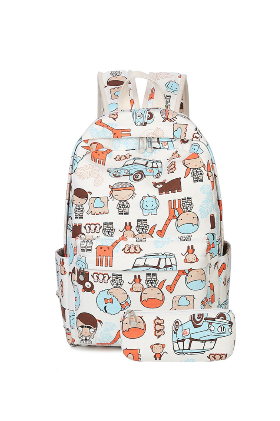 Cartoon Prints Backpack & Purse