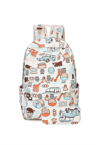 Cartoon Prints Backpack With Purse