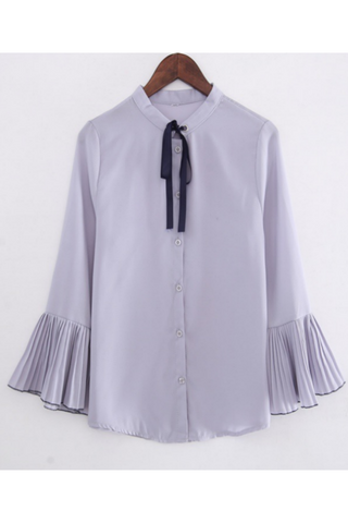 Chic Pleated Sleeve Blouse