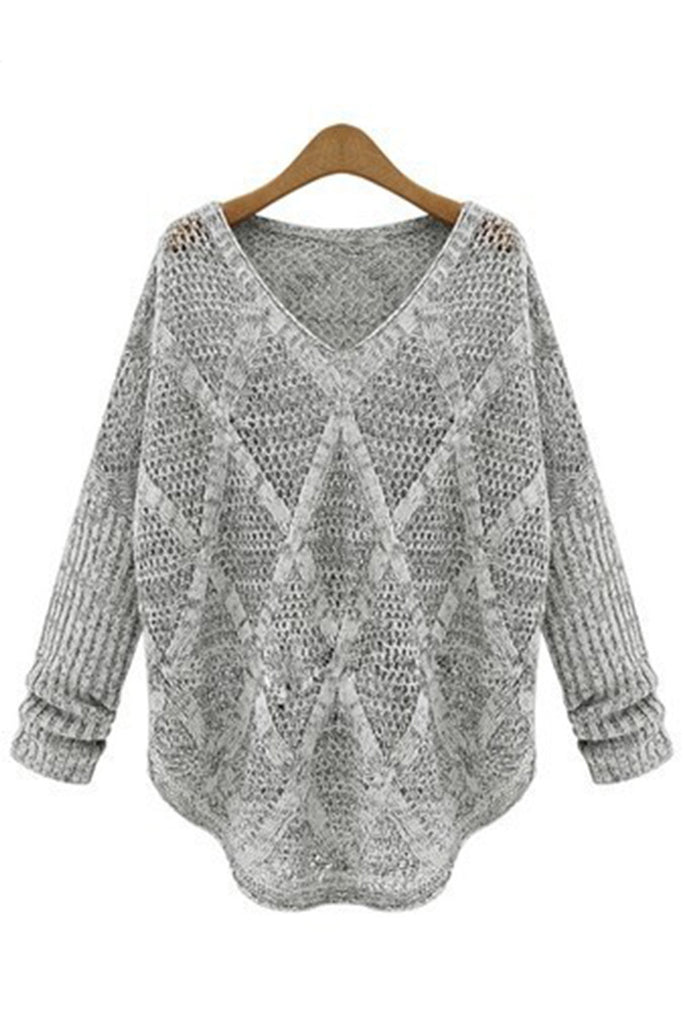 Retro V Neck Cut Out Gray Sweater