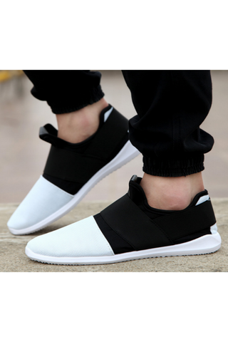 White Black Casual Slip-On Sneakers