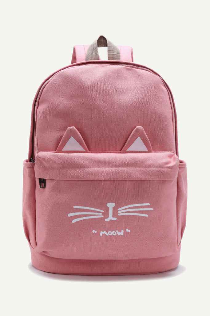 Cute Pink Cat Ear Canvas Backpack