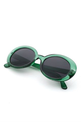 Green Frame Oval Sunglasses