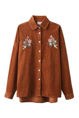 Corduroy Floral Embroidered Shirt