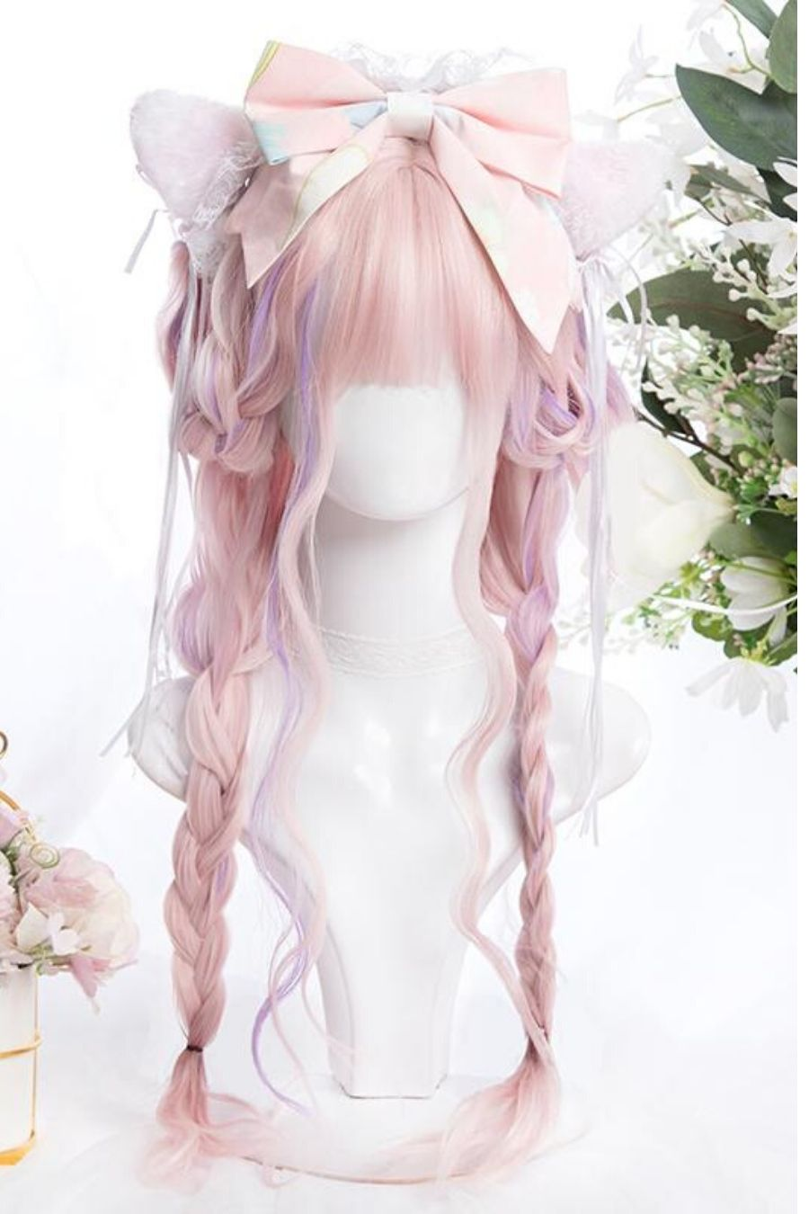 Long Curly Pink Cosplay Wig
