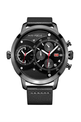 Large Dial Quartz Watch In Black