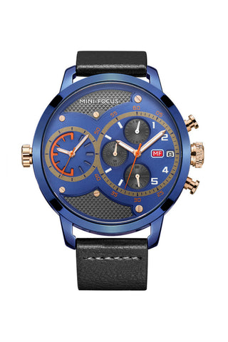 Large Dial Quartz Watch In Blue