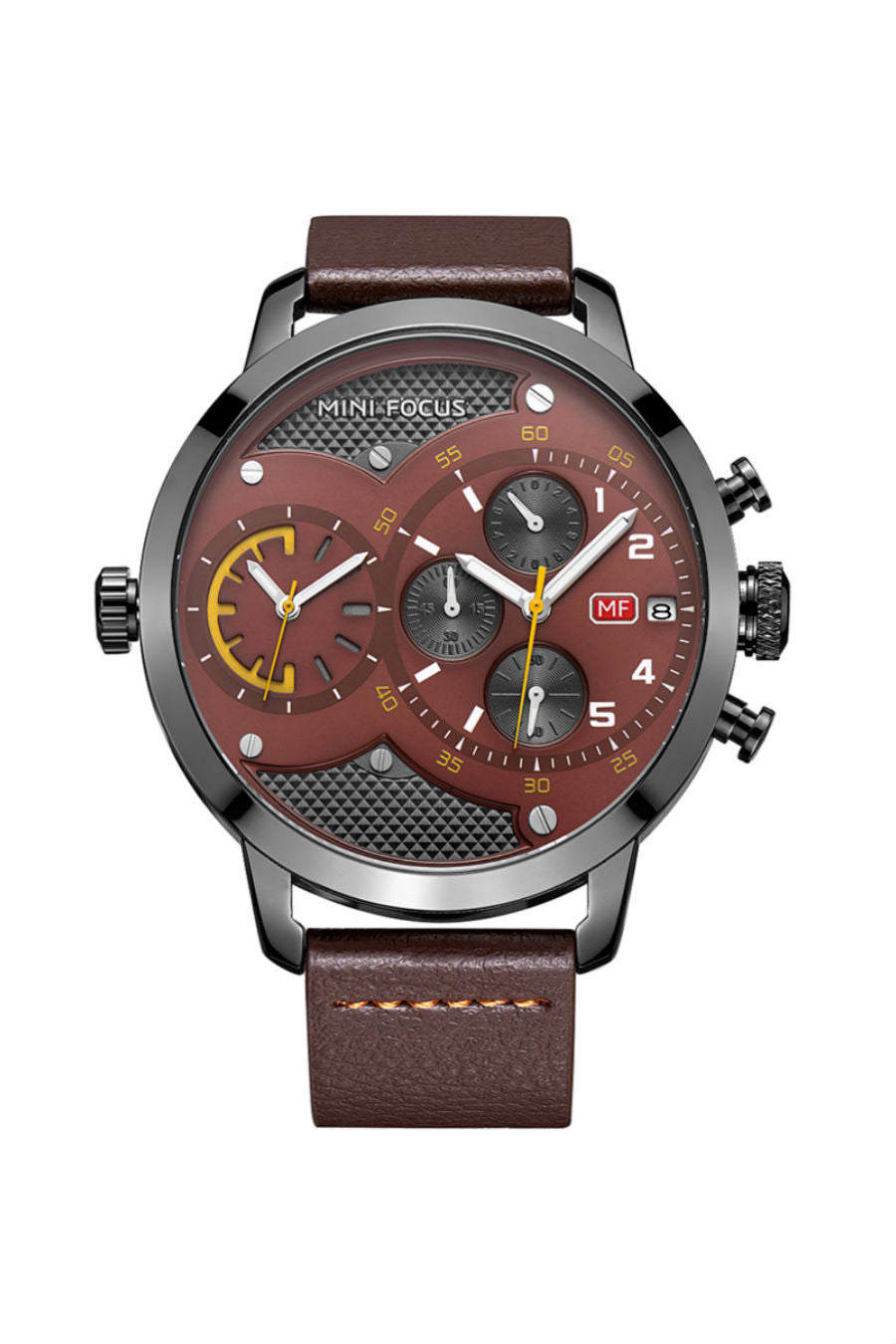 Large Dial Quartz Watch In Brown
