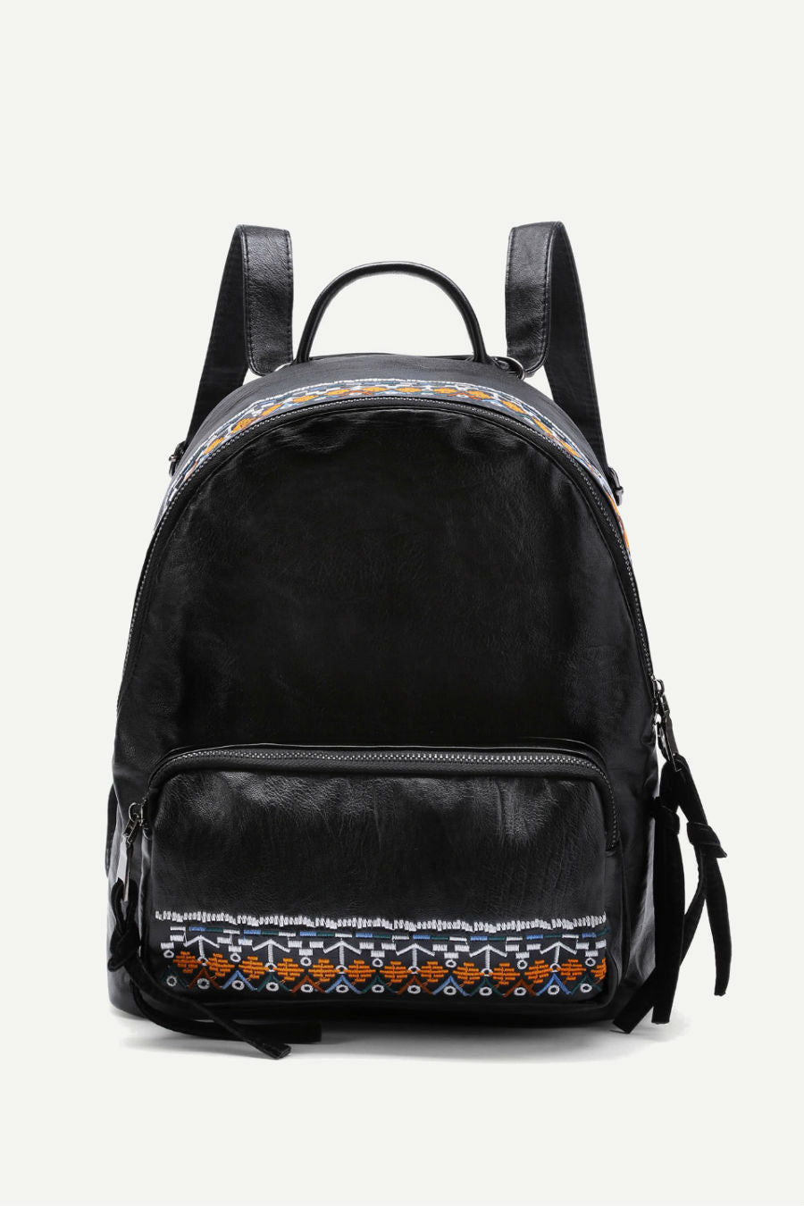 Ethnic Embroidery Black Backpack